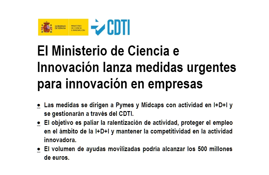 El Ministerio de Ciencia e Innovación lanza medidas urgentes para innovación en empresas