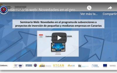 Vídeo y presentación del seminario web novedades del programa de ayudas a la inversión pyme 2020